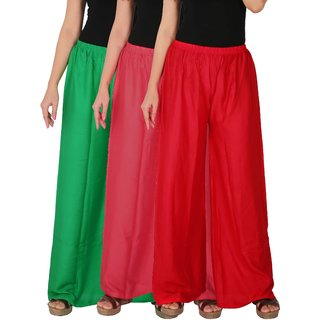 Culture the Dignity Women's Rayon Solid Palazzo Pants Palazzo Trousers Combo of 3 - Green - Pink - Red - C_RPZ_GPR - Pack of 3 - Free Size