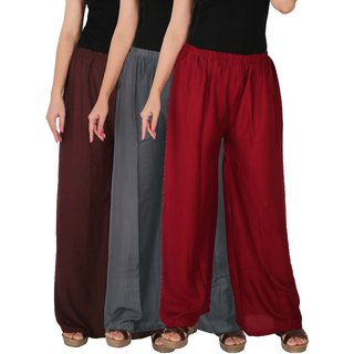 Culture the Dignity Women's Rayon Solid Palazzo Pants Palazzo Trousers Combo of 3 - Brown - Grey - Maroon - C_RPZ_B2G1M - Pack of 3 - Free Size