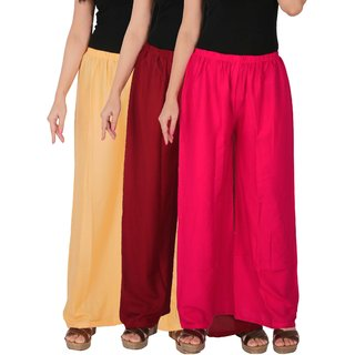 Culture the Dignity Women's Rayon Solid Palazzo Pants Palazzo Trousers Combo of 3 - Cream - Maroon - Magenta - C_RPZ_CMM1 - Pack of 3 - Free Size