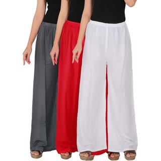 Culture the Dignity Women's Rayon Solid Palazzo Pants Palazzo Trousers Combo of 3 - Grey - Red - White - C_RPZ_G1RW - Pack of 3 - Free Size