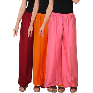 Culture the Dignity Women's Rayon Solid Palazzo Pants Palazzo Trousers Combo of 3 - Maroon - Orange - Baby Pink - C_RPZ_MOP2 - Pack of 3 - Free Size