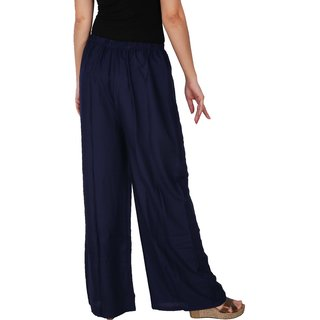 Culture the Dignity Women's Rayon Solid Palazzo Pants Palazzo Trousers -  Navy Blue - C_RPZ_B3 - Free Size