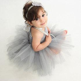 Handmade Corset Tulle Ballet Tutus Newborn Birthday Party Dress grey