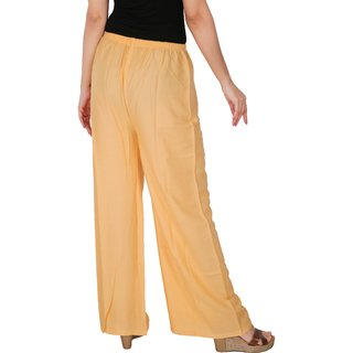 Culture the Dignity Women's Rayon Solid Palazzo Pants Palazzo Trousers -  Cream - C_RPZ_C - Free Size