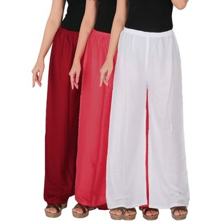 Culture the Dignity Women's Rayon Solid Palazzo Pants Palazzo Trousers Combo of 3 - Maroon - Pink - White - C_RPZ_MPW - Pack of 3 - Free Size