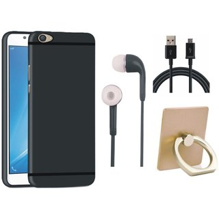 Samsung J7 Max Soft Silicon Slim Fit Back Cover with Ring Stand Holder, Earphones and USB Cable