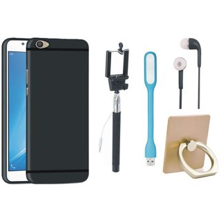 Samsung J7 Max Silicon Slim Fit Back Cover with Ring Stand Holder, Selfie Stick, Earphones and USB LED Light