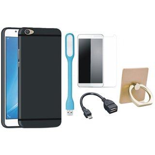 Samsung J7 Max Stylish Back Cover with Ring Stand Holder, Tempered Glass, USB LED Light and OTG Cable