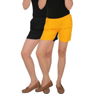 Culture the Dignity Women's Solid Rayon Shorts With Side Pockets Combo of 2 -  Black -  Yellow -  C_RSHT_BY -  Pack of 2 -  Free Size