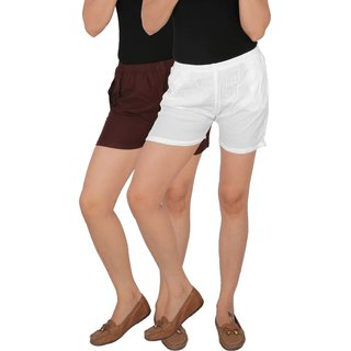 Culture the Dignity Women's Solid Rayon Shorts With Side Pockets Combo of 2 -  Brown -  White -  C_RSHT_B2W -  Pack of 2 -  Free Size