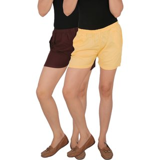 Culture the Dignity Women's Solid Rayon Shorts With Side Pockets Combo of 2 -  Brown -  Cream -  C_RSHT_B2C -  Pack of 2 -  Free Size