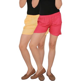 Culture the Dignity Women's Solid Rayon Shorts With Side Pockets Combo of 2 -  Cream -  Pink -  C_RSHT_CP -  Pack of 2 -  Free Size