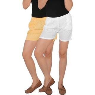 Culture the Dignity Women's Solid Rayon Shorts With Side Pockets Combo of 2 -  Cream -  White -  C_RSHT_CW -  Pack of 2 -  Free Size