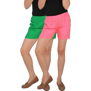 Culture the Dignity Women's Solid Rayon Shorts With Side Pockets Combo of 2 -  Green -  Baby Pink -  C_RSHT_GP2 -  Pack of 2 -  Free Size