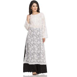 9a42ba42e14 Ada Lucknow Chikan Hand Embroidered White Faux Georgette Kurti - A105242