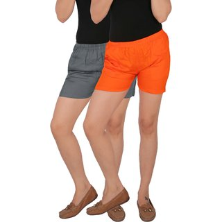 Culture the Dignity Women's Solid Rayon Shorts With Side Pockets Combo of 2 -  Grey -  Orange -  C_RSHT_G1O -  Pack of 2 -  Free Size