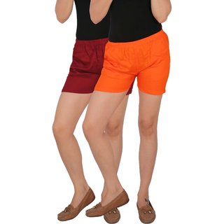 Culture the Dignity Women's Solid Rayon Shorts With Side Pockets Combo of 2 -  Maroon -  Orange -  C_RSHT_MO -  Pack of 2 -  Free Size