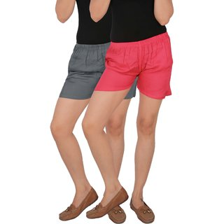 Culture the Dignity Women's Solid Rayon Shorts With Side Pockets Combo of 2 -  Grey -  Pink -  C_RSHT_G1P -  Pack of 2 -  Free Size