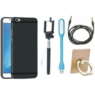Samsung J7 Max Back Cover with Ring Stand Holder, Selfie Stick, USB LED Light and AUX Cable