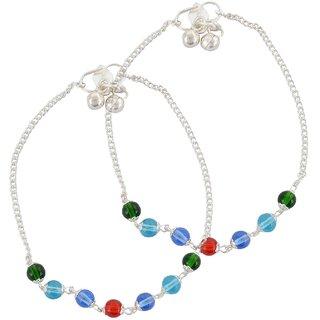 Beadworks Glass Anklet for Women (AKL-75-Multi)