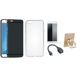 Oppo F5 Premium Quality Cover with Ring Stand Holder, Silicon Back Cover, Tempered Glass and OTG Cable