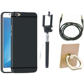 Samsung J7 Pro Stylish Back Cover with Ring Stand Holder, Selfie Stick and AUX Cable