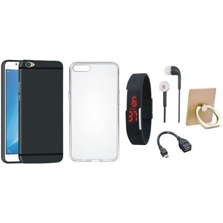 Oppo A71 Soft Silicon Slim Fit Back Cover with Ring Stand Holder, Silicon Back Cover, Digital Watch, Earphones and OTG Cable