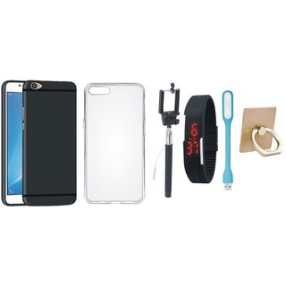 Oppo A71 Soft Silicon Slim Fit Back Cover with Ring Stand Holder, Silicon Back Cover, Selfie Stick, Digtal Watch and USB LED Light