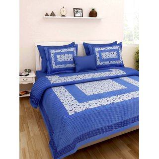 Dinesh Enterprises,Art Bazar 250 TC Cotton Double Bedsheet with 2 Pillow Covers - Abstract, Blue...