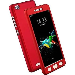 iPaky 360 Protective Body Case cover for RedMi 4A (Red) with Temepered Glass