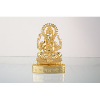 Gold Plated Ganeshji Idol - Suitable for Car or Home 2.9