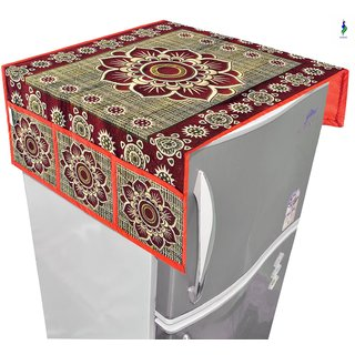 Nisol Mandala Crimson Maroon Refrigerator / Fridge Top Cover (Universal Size)