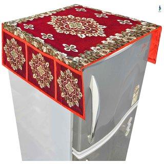 Nisol Shalil Crimson Maroon Refrigerator / Fridge Top Cover (Universal Size)