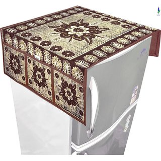 Nisol In Bloom Lilly Floral Kobicha Brown Refrigerator / Fridge Top Cover (Universal Size)