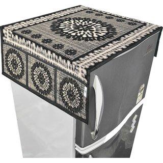 Nisol Classy Brocade Floral  Raisin Black Refrigerator / Fridge Top Cover (Universal Size)