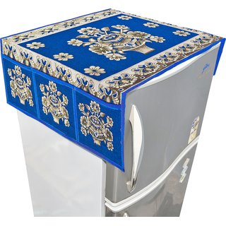Nisol Suzani Pot Designer Classic Royal Blue Refrigerator / Fridge Top Cover (Universal Size)