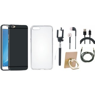Oppo F5 Stylish Back Cover with Ring Stand Holder, Silicon Back Cover, Selfie Stick, Earphones, USB Cable and AUX Cable