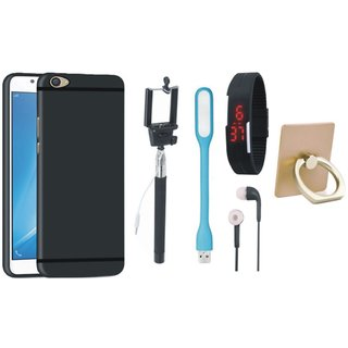 Oppo F5 Silicon Anti Slip Back Cover with Ring Stand Holder, Selfie Stick, Digtal Watch, Earphones and USB LED Light