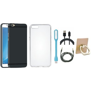Oppo F5 Silicon Anti Slip Back Cover with Ring Stand Holder, Silicon Back Cover, USB LED Light, USB Cable and AUX Cable