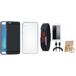 Oppo A71 Soft Silicon Slim Fit Back Cover with Ring Stand Holder, Free Digital LED Watch, Tempered Glass and USB Cable