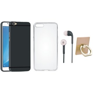 Oppo F5 Silicon Anti Slip Back Cover with Ring Stand Holder, Silicon Back Cover and Earphones