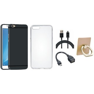 Oppo F5 Stylish Back Cover with Ring Stand Holder, Silicon Back Cover, OTG Cable and USB Cable