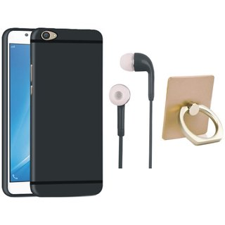 Oppo A71 Silicon Slim Fit Back Cover with Ring Stand Holder, Earphones