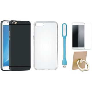 Oppo F5 Silicon Anti Slip Back Cover with Ring Stand Holder, Silicon Back Cover, Tempered Glas and USB LED Light