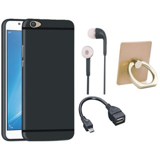 Oppo F5 Silicon Anti Slip Back Cover with Ring Stand Holder, Earphones and OTG Cable