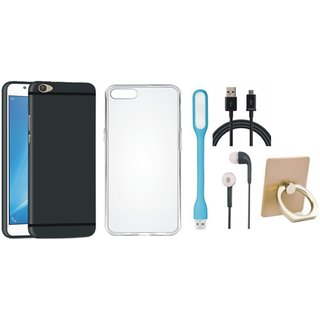 Oppo F5 Silicon Anti Slip Back Cover with Ring Stand Holder, Silicon Back Cover, Earphones, USB LED Light and USB Cable