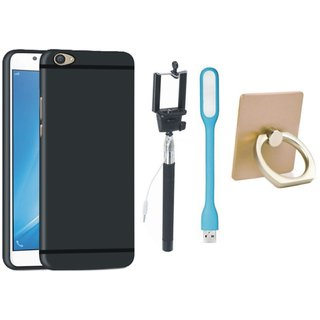 Samsung J7 Pro Back Cover with Ring Stand Holder, Selfie Stick and USB LED Light