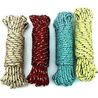 Nylon Rope 10 Meters For Cloth Drying And Multipurpose(Multicolor Set of 3)