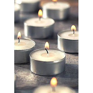 SCORIA Tea Light Candle for Diwali  Birthday Party (White, Set of 100)