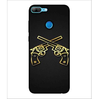 For Huawei Honor 9 Lite Pistal, Black, Gun, Double Gun, Dual Pistal,  Printed Designer Back Case Cover By Human Enterprise